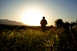 A soldier from Apache Company walks on a sunrise patrol through the Tangi Valley.