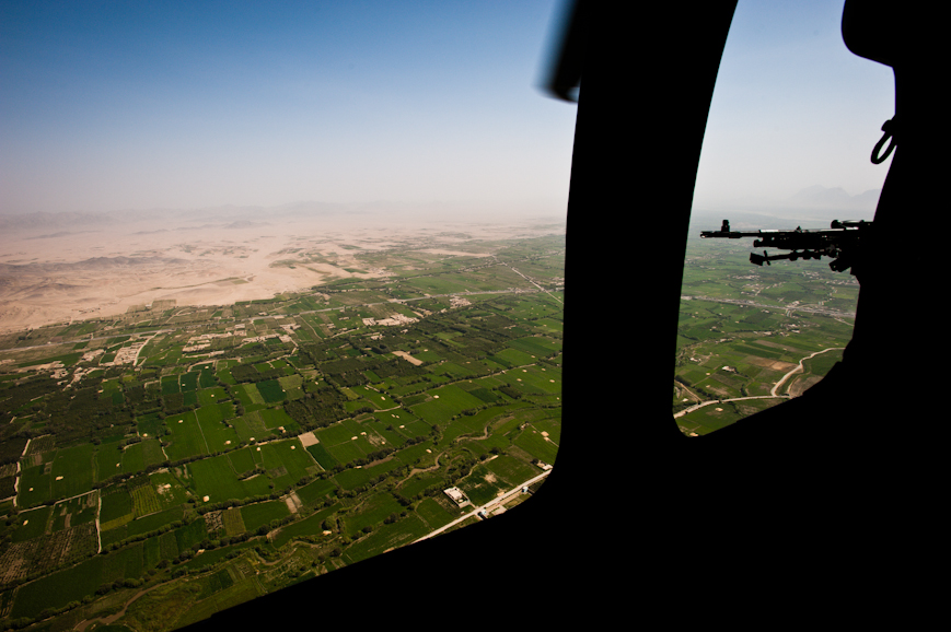 A view of the green zone—the lush agricultural region on the flanks of the Arghandab River in southern Afghanistan's Kandahar Province. The Arghandab River is one of Afghansitan's main watersheds, and a main route for insurgent smugglers.