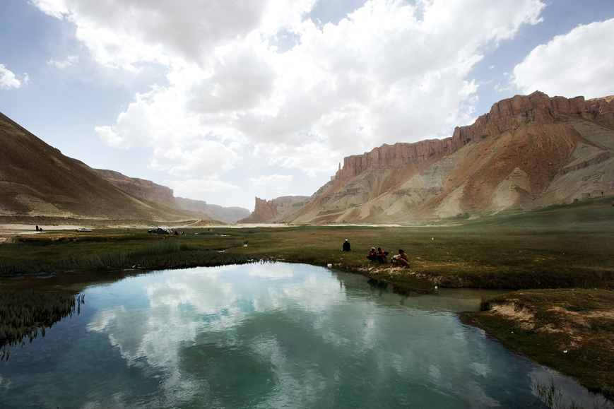 Bamiyan Province, Afghanistan: Picknickers at Band-e-Amir, two hours from the city of Bamiyan. Band-e-Amir is Afghanistan's first national park. July 2010.
