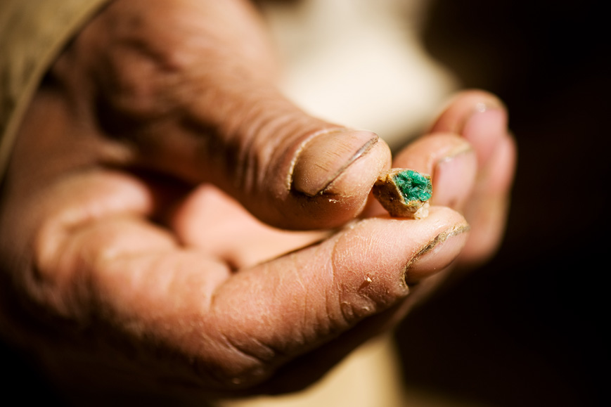Panjshir, Afghanistan: Commander Jalaluddin holds a low-grade emerald outside a dormant mine.